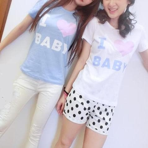 Blue/White I Love Baby T-shirt Top SP153295 - SpreePicky  - 3