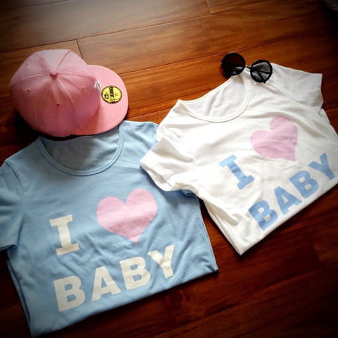Blue/White I Love Baby T-shirt Top SP153295 - SpreePicky  - 4