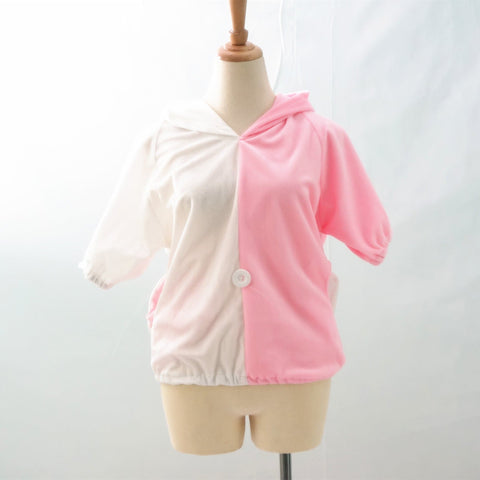 Danganronpa Monomi モノミ/ウサミ Pink/White Cute Hoodie Short Sleeve Pull Over Jumper Top  SP140858 - SpreePicky  - 3