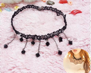 Gothic Black Lace Necklace SP165001