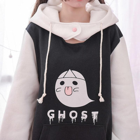 M/L Kawaii Ghost Loose Hoodie Jumper SP168203