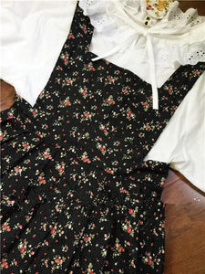 Pink/Black/White Sweet Mori Girl Strawberry Flower Dress/Shirt Set SP165158
