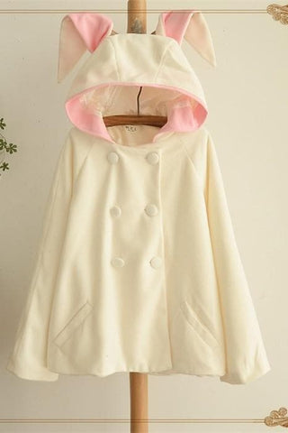 Pink/White Cutie Rabbit Ear Double-breasted Coat SP153999 - SpreePicky  - 5