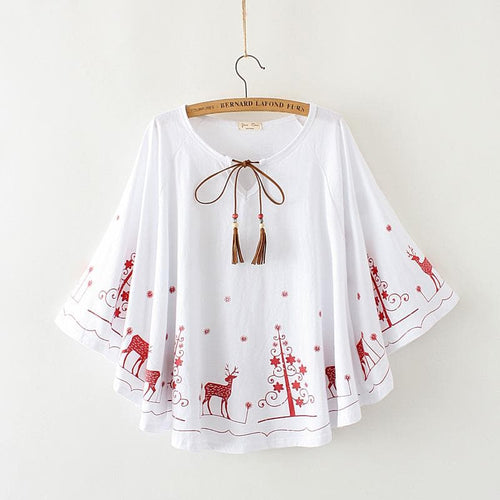 Red/Blue Kawaii Christmas Tree Deer Cape Top SP1812296