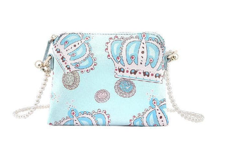 White/Blue Cutie Crown Princess Pearl Shoulder Bag SP153060 - SpreePicky  - 7