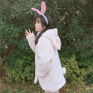 White Fluffy Bunny Winter Coat SP1711462