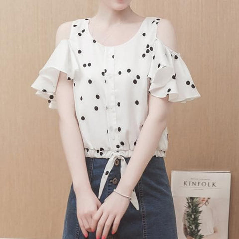 White Loose Flare Sleeve Chiffon Shirt SP179453
