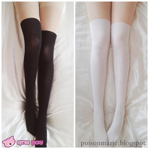ball joint tights. 2 colors basic fake over knee thigh high tights sp130053 ball joint