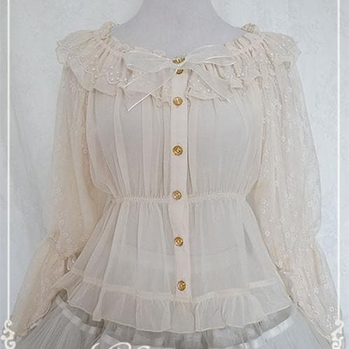 Chess Story Shoulder Off Chiffon Half Sleeve Blouse Top SP141086 - SpreePicky  - 1