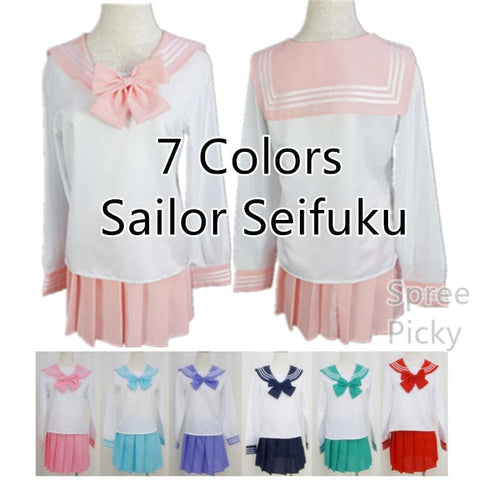 Cosplay Long Sleeve Sailor Seifuku School Uniform Set SP141042