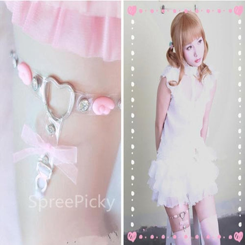 J-Fashion Pastel Cutie  Wing Pink Hollow Out Heart-shaped Garter SP140892 - SpreePicky  - 1