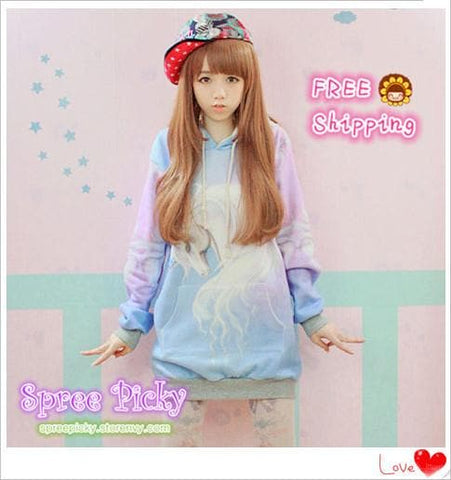 J-fashion  Velveteen Sweater - Pastel Unicorn SP130109 - SpreePicky  - 1