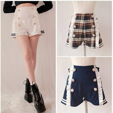 Sailor Style Lace Shorts With Bow On Back SP141151 - SpreePicky  - 1