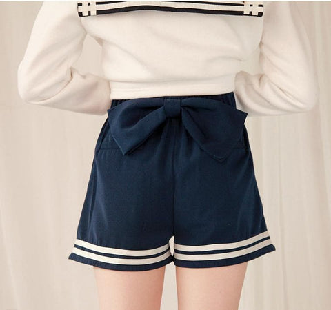 Sailor Style Lace Shorts With Bow On Back SP141151 - SpreePicky  - 2