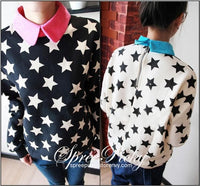 2 Colors [K-Fashion] Lapel Stars Fleece Sweater SP130083 - SpreePicky  - 1