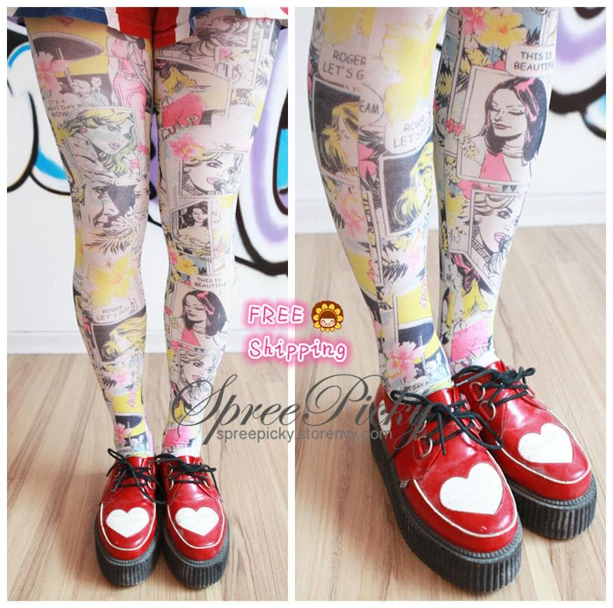 {3 For 2}Cartoon Manga Printing Tights SP130059 - SpreePicky  - 1
