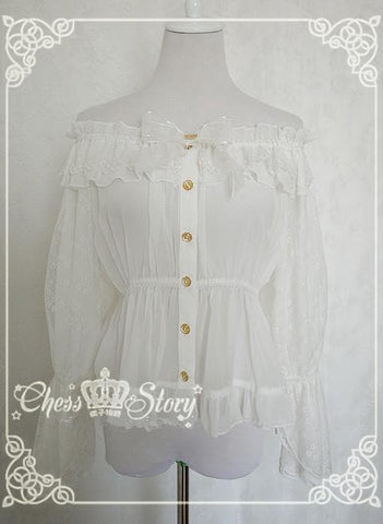 Chess Story Shoulder Off Chiffon Half Sleeve Blouse Top SP141086 - SpreePicky  - 3