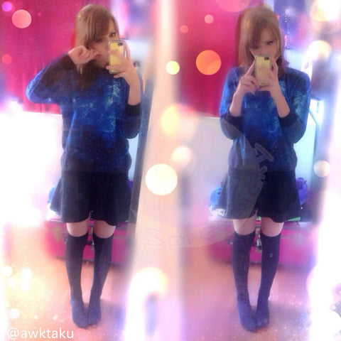 Harajuku universe galaxy star loose pullovers couple sweater SP130087