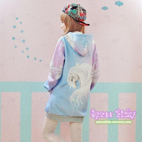 J-fashion  Velveteen Sweater - Pastel Unicorn SP130109 - SpreePicky  - 3