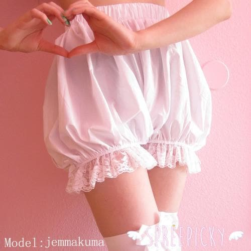 Lolita Cosplay Simple White Lantern Bloomer SP130106 - SpreePicky  - 1