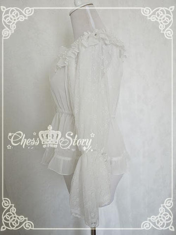 Chess Story Shoulder Off Chiffon Half Sleeve Blouse Top SP141086 - SpreePicky  - 4