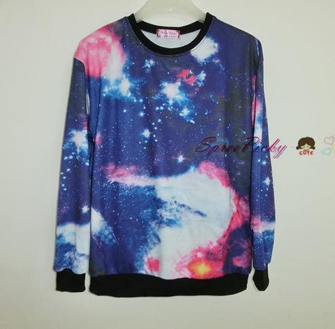 Harajuku universe galaxy star loose pullovers couple sweater SP130087 - SpreePicky  - 3
