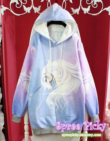 J-fashion  Velveteen Sweater - Pastel Unicorn SP130109 - SpreePicky  - 4