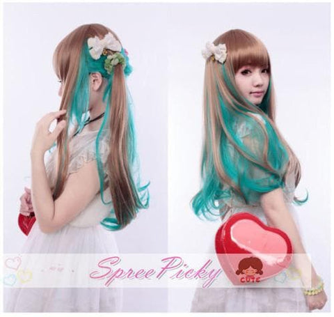 HARAJUKU wifing lolita cosplay women's maid equipment cos green and brow mix wig SP130050 - SpreePicky  - 2