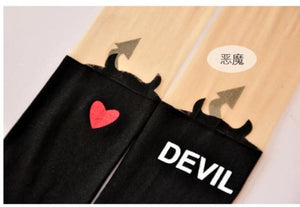 cute devil fake over-the-knee patchwork stockings pantyhose SP130044 - SpreePicky  - 2