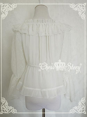 Chess Story Shoulder Off Chiffon Half Sleeve Blouse Top SP141086 - SpreePicky  - 5