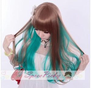 HARAJUKU wifing lolita cosplay women's maid equipment cos green and brow mix wig SP130050 - SpreePicky  - 3