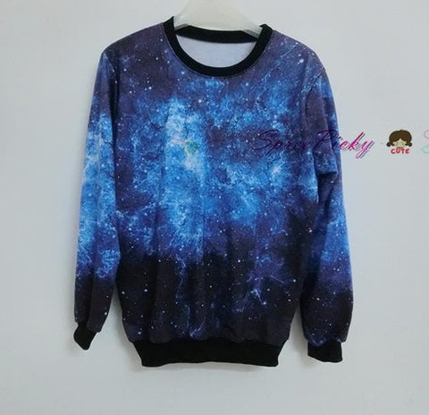 Harajuku universe galaxy star loose pullovers couple sweater SP130087 - SpreePicky  - 4