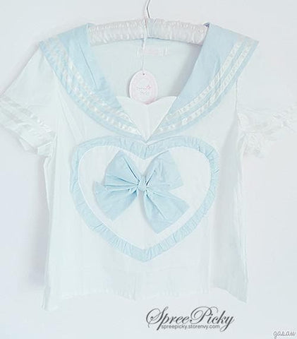 Blue/Pink Sailor School Look Heart Bow T-shirt TOP ONLY SP130068 - SpreePicky  - 5