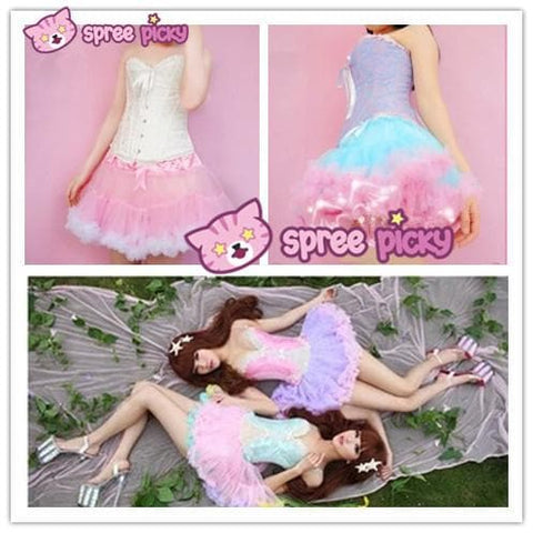 HIGH QUALITY Lolita Cosplay  Fluffy TUTU Dream Rainbow A shape Pettiskirt SP130218