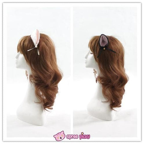 [Black/White] Cosplay Kitten Neko Cat Ears with Little Bell Hair Clip SP140499 - SpreePicky  - 3