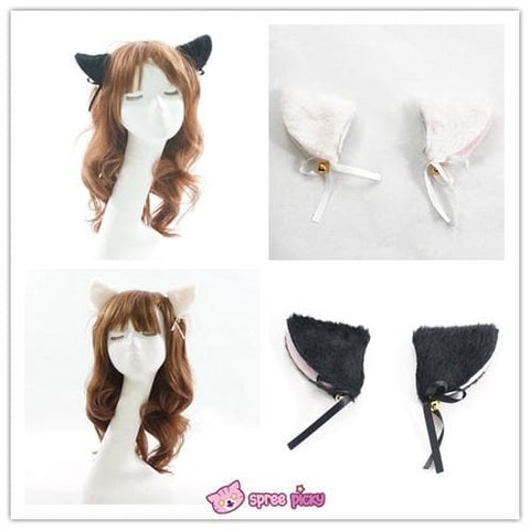 [Black/White] Cosplay Kitten Neko Cat Ears with Little Bell Hair Clip SP140499 - SpreePicky  - 1