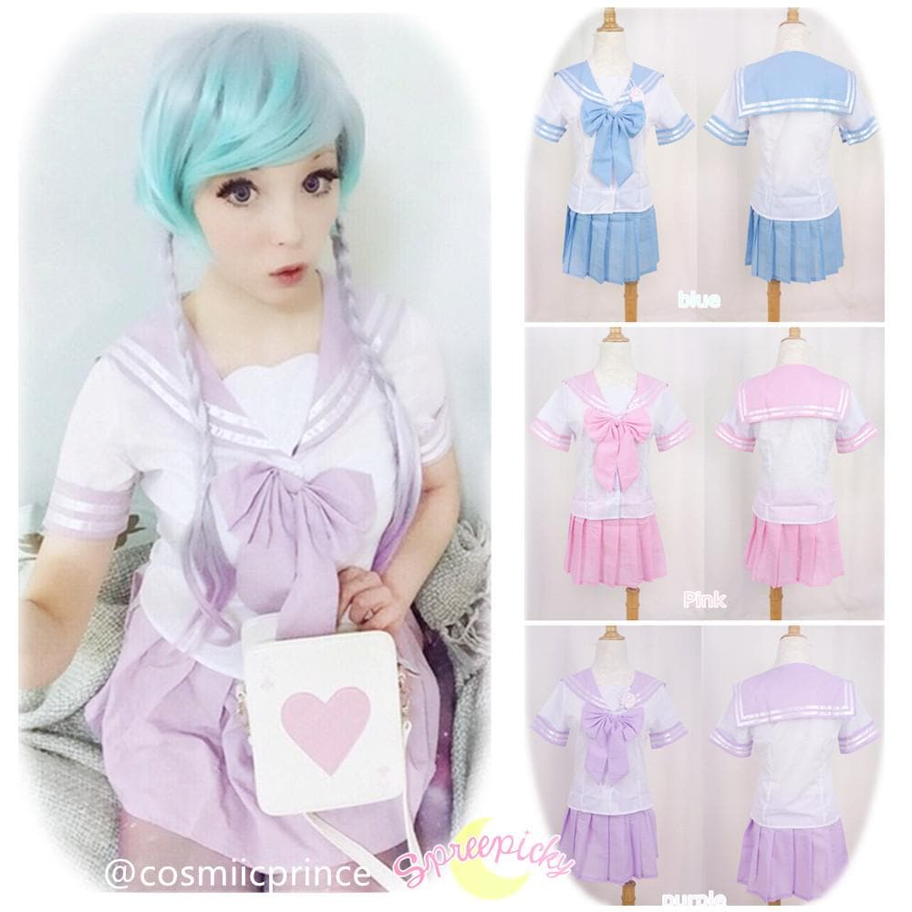 3 Colors J-fashion Cos Sailor School Uniform Seifuku Set  SP130056 - SpreePicky  - 1