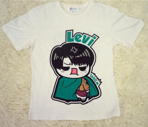 Chibi Levi Attack On Attack Anime Cotton T-shirt Top  SP140836 - SpreePicky  - 1