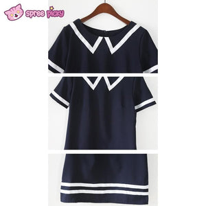 Navy/White Mori Girl Fake Collar Sailor Dress SP151923 - SpreePicky  - 6