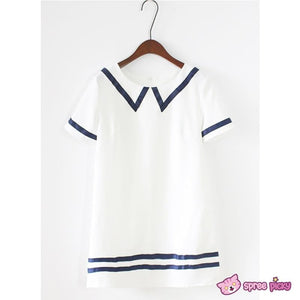 Navy|White Mori Girl Fake Collar Sailor Dress SP151923 - SpreePicky  - 3