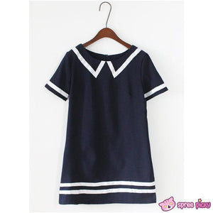 Navy/White Mori Girl Fake Collar Sailor Dress SP151923 - SpreePicky  - 4