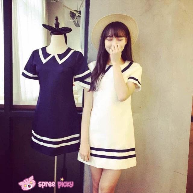 Navy/White Mori Girl Fake Collar Sailor Dress SP151923 - SpreePicky  - 1