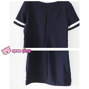 Navy/White Mori Girl Fake Collar Sailor Dress SP151923 - SpreePicky  - 7