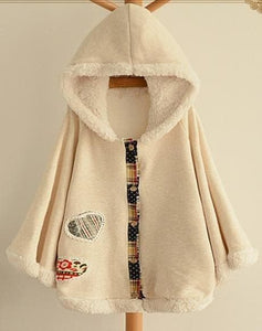 2 Colors Winter Kawaii Fluffy Fleece Cape With Kitten On Back SP141478 - SpreePicky  - 3