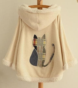 2 Colors Winter Kawaii Fluffy Fleece Cape With Kitten On Back SP141478 - SpreePicky  - 4