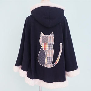2 Colors Winter Kawaii Fluffy Fleece Cape With Kitten On Back SP141478 - SpreePicky  - 6