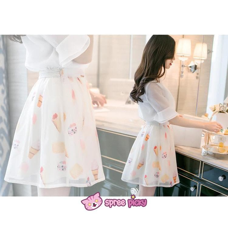 [S--XL] 2 Pieces Set Chiffon Top and Organza Skirt SP151877 - SpreePicky  - 1
