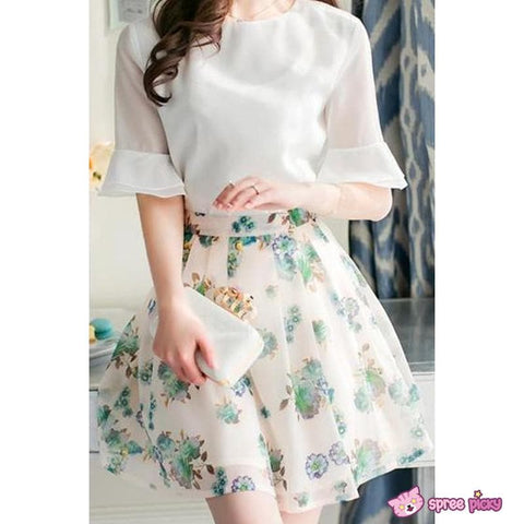 [S--XL] 2 Pieces Set Chiffon Top and Organza Skirt SP151877 - SpreePicky  - 3