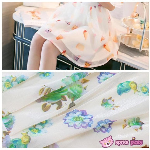 [S--XL] 2 Pieces Set Chiffon Top and Organza Skirt SP151877 - SpreePicky  - 4