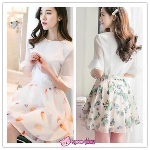 [S--XL] 2 Pieces Set Chiffon Top and Organza Skirt SP151877 - SpreePicky  - 2